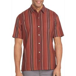 Van Heusen Mens Vertical Tonal Stripe Short Sleeve Shirt