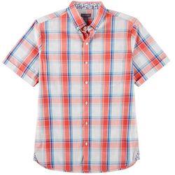 Van Heusen Mens Plaid Print Never Tuck Shirt