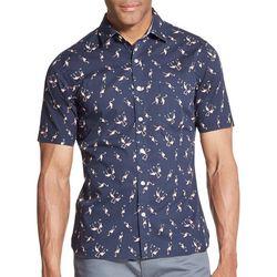 Van Heusen Mens Micro Flamingo Print Never Tuck Shirt