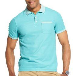 Van Heusen Mens Air Solid Stripe Trim Polo Shirt