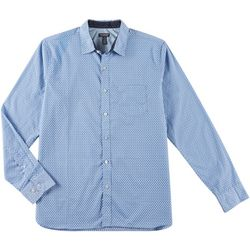 Van Heusen Mens Never Tuck Slim Fit Rectangle Print Shirt