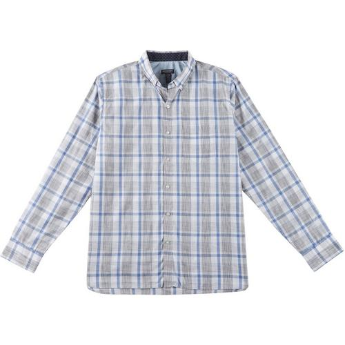 Alion Mens Button Down Plaid Short-Sleeve Slim Fit Work Casual Shirts