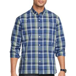 Van Heusen Mens Never Tuck Plaid Print Button Down Shirt