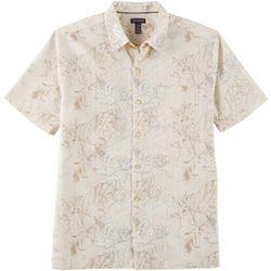 Van Heusen Mens Sandwashed Palm Leaf Button Down Camp Shirt
