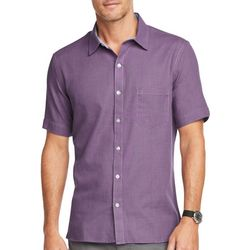 Van Heusen Mens Never Tuck Solid Button Down Shirt