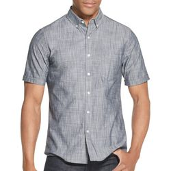 Van Heusen Mens Chambray Slim Fit Short Sleeve Shirt
