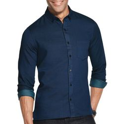 Van Heusen Mens Never Tuck Slim Fit Dobby Dot Shirt