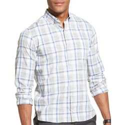 Van Heusen Mens Never Tuck Slim Fit Plaid Shirt