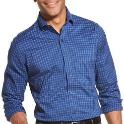 Van Heusen Mens Traveler Stretch Blue Plaid Shirt