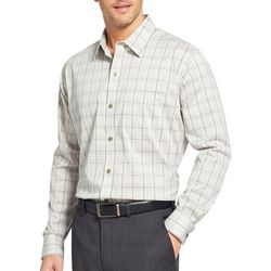 Van Heusen Mens Traveler Windowpane Plaid Long Sleeve Shirt
