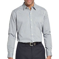 Van Heusen Mens Traveler Tatersall Plaid Long Sleeve Shirt