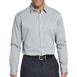 Van Heusen Mens Traveler Tatersall Plaid Long Sleeve Shirt