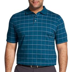 Van Heusen Mens Big & Tall Windowpane Polo Shirt