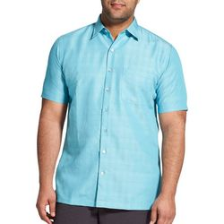 Van Heusen Mens Big & Tall Textured Plaid Short Sleeve Shirt
