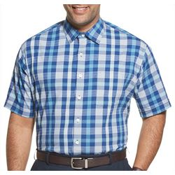 Van Heusen Mens Big & Tall Seersucker Plaid Print Shirt