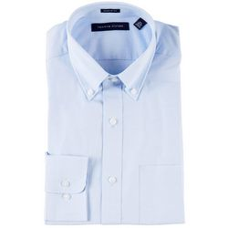 Tommy Hilfiger Mens Solid Button Up Long Sleeve Shirt