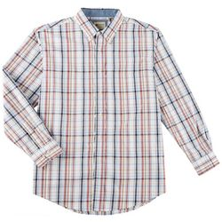 Haggar Mens Madras Plaid Print Long Sleeve Shirt
