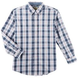 Haggar Mens Plaid Poplin Long Sleeve Shirt