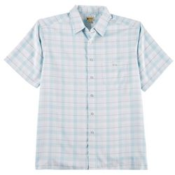 Haggar Mens Micro Plaid Short Sleeve Shirt