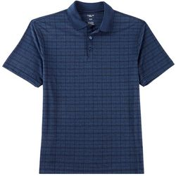 Haggar Mens Plaid Marled Short Sleeve Polo Shirt