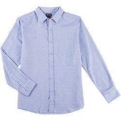 Haggar Mens Tuckless Abstract Plaid Print Long Sleeve Shirt