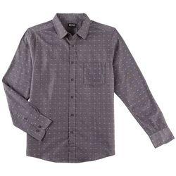 Haggar Mens Tuckless Geometric Print Long Sleeve Shirt