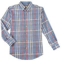 Haggar Mens Plaid Poplin Long Sleeve Shirt