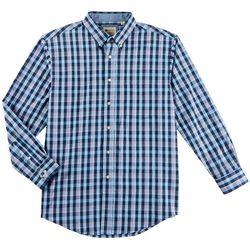 Haggar Mens Plaid Print Poplin Long Sleeve Shirt