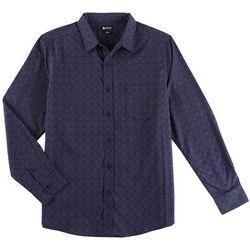 Haggar Mens Tuckless Glen Plaid Long Sleeve Shirt