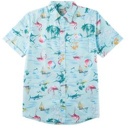 Haggar Mens Beach Flamingo Print Woven Short Sleeve Shirt