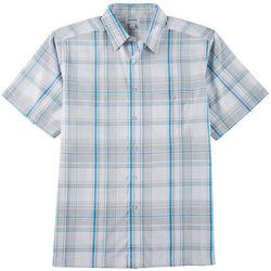 Haggar Mens Cool 18 Pro Plaid Print Woven Shirt