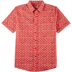 Haggar Mens Shark Print Woven Short Sleeve Shirt