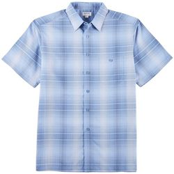 Haggar Mens Cool 18 Tec Plaid Short Sleeve Shirt