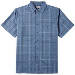 Haggar Mens Cool 18 Pro Plaid Short Sleeve Shirt