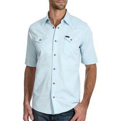 Wrangler Mens Western Pigment Dyed Snap Short Sleeve Shirt
