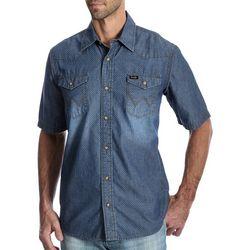 Wrangler Mens Western Swiss Dot Denim Snap Front Shirt