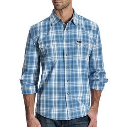 Wrangler Mens Western Plaid Snap Front Long Sleeve Shirt