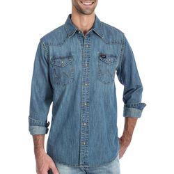Wrangler Mens Western Denim Snap Front Long Sleeve Shirt