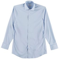 Perry Ellis Mens Solid Woven Travel Luxe Tech Shirt