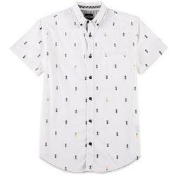 Geometrix Mens Pineapple Peached Poplin Print Woven Shirt
