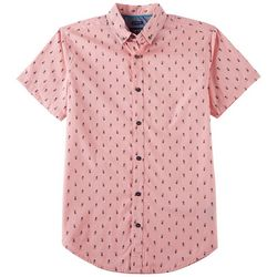 Geometrix Mens Peace Print Peached Poplin Woven Shirt