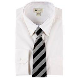Haggar Mens Long Sleeve Dress Shirt & Stripe Tie Box Set