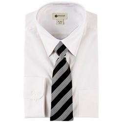 Haggar Mens Long Sleeve Dress Shirt & Stripe Tie Box Set