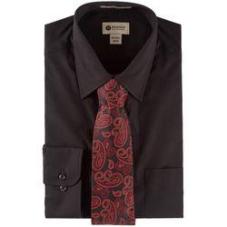 Haggar Mens Long Sleeve Dress Shirt & Paisley Tie Box Set