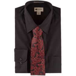 Haggar Mens Long Sleeve Dress Shirt & Paisley Tie Box Set