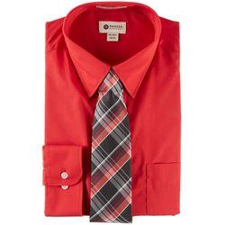 Haggar Mens Long Sleeve Dress Shirt & Plaid Tie Box Set