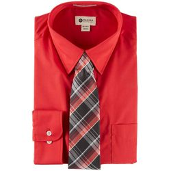 Haggar Mens Long Sleeve Dress Shirt & Plaid Tie Box Set