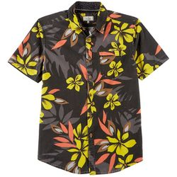 19c06abb7 Burnside Mens Tropical Floral Pocket Shirt