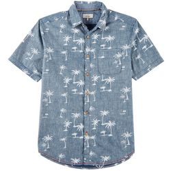 Burnside Mens Palm Tree Print Pocket Shirt