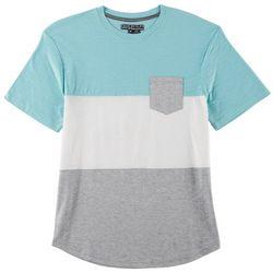 Distortion Mens Crewneck Cut Colorblock T-Shirt